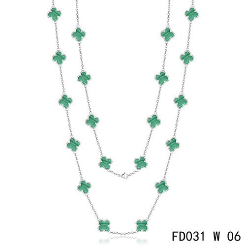 Van Cleef & Arpels Vintage Alhambra 20 Motifs Malachite Long Necklace