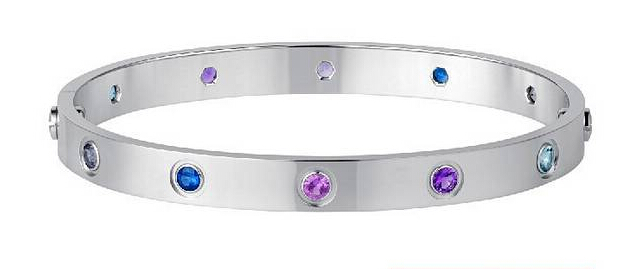 cartier love bangle bracelet with colorful stones