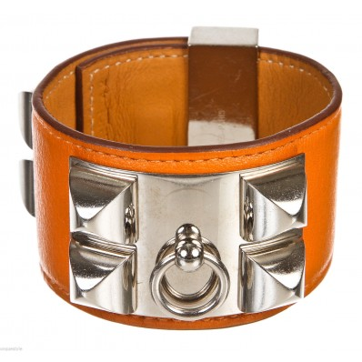 Hermes Orange Leather Collier De Chien Bracelet