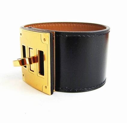 Hermes Black Box Leather Kelly Dog Gold Hardware Cuff Bracelet