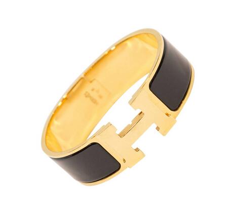 Hermes Black Enamel and Gold Wide Clic Clac H Bracelet