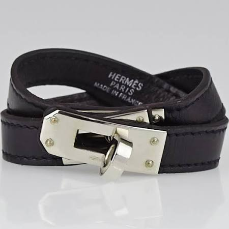 Hermes Black Swift Leather Palladium Plated Kelly Double Tour Bracelet