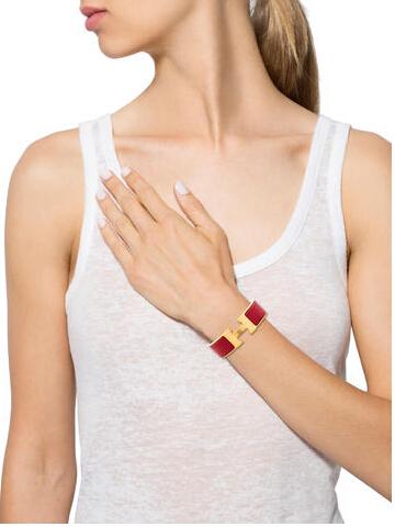Hermes Wide Enamel Clic Clac Bracelet