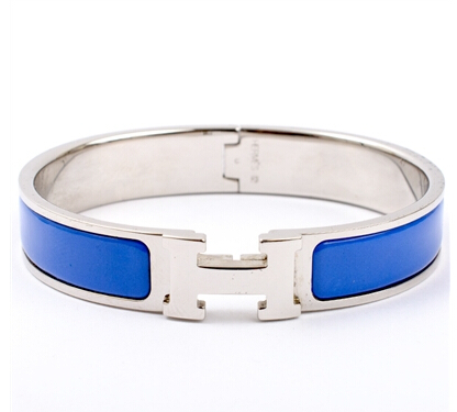 Hermes Royal Blue Clic Clac H Narrow Enamel Bracelet
