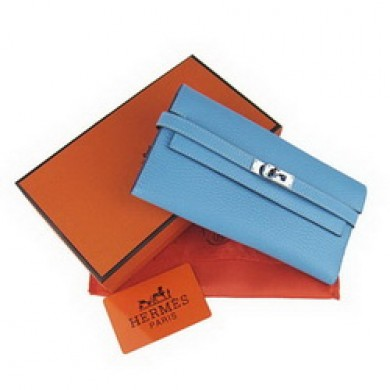 Hermes Kelly Wallet Light Blue Cow Leather H009