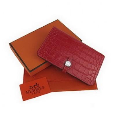 Hermes Leather Crocodile Veins Dogon Wallet H001 Light Red