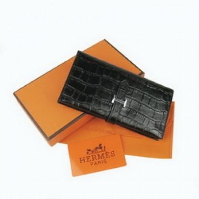 Hermes Leather Crocodile Veins Long Wallet H005 Black