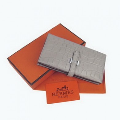 Hermes Leather Crocodile Veins Long Wallet H005 Grey