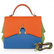 Hermes Multicolor Leather Stirrup Mini Tote 509118 Orange/Blue/Green