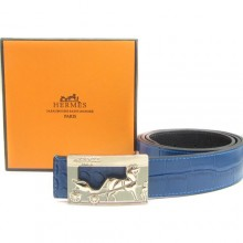 Blue Hermes Crocodile Belt With Gold H Buckle H80059