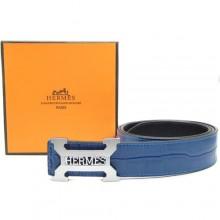 Blue Hermes Crocodile Belt With Silver H Buckle H80021
