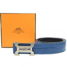 Blue Hermes Crocodile Belt With Silver H Buckle H80022