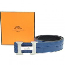 Blue Hermes Crocodile Belt With Silver H Buckle H80023
