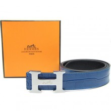 Blue Hermes Crocodile Belt With Silver H Buckle H80024
