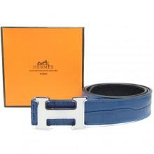 Blue Hermes Crocodile Belt With Silver H Buckle H80026