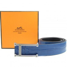 Blue Hermes Crocodile Belt With Silver H Buckle H80027
