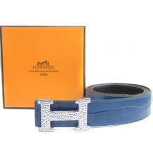 Blue Hermes Crocodile Belt With Silver H Buckle H80028
