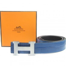 Blue Hermes Crocodile Belt With Silver H Buckle H80031