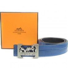 Blue Hermes Crocodile Belt With Silver H Buckle H80032