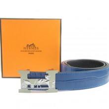 Blue Hermes Crocodile Belt With Silver H Buckle H80033