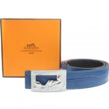 Blue Hermes Crocodile Belt With Silver H Buckle H80034