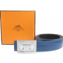 Blue Hermes Crocodile Belt With Silver H Buckle H80035