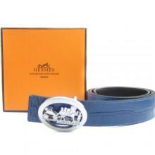 Blue Hermes Crocodile Belt With Silver H Buckle H80036