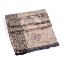 Discount Hermes Wool Shawl Scarf Apricot Black Sale