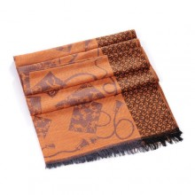 Discount Hermes Wool Shawl Scarf Brown Sale