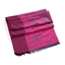 Discount Hermes Wool Shawl Scarf Grey Black Pink