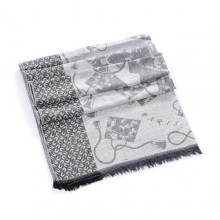Discount Hermes Wool Shawl Scarf Light Grey Sale