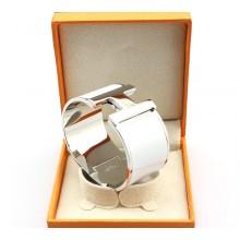 """Hermes """"H"""" Logo Wide Bangle, White & White Gold"""