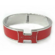 Hermes Red Color Logo Bangle With White Gold, Narrow