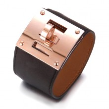 Hermes Black Leather Bracelets With Pink Gold Turn Buckle, Wide