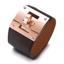 Hermes Black Leather Bracelets With Pink Gold Turn Buckle, Wide