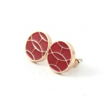 Hermes Earring, Red with Pink Gold