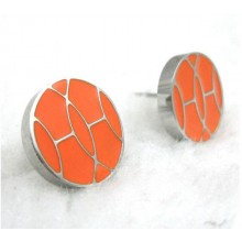 Hermes White Gold Earring With Orange Color