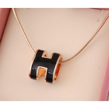 "Hermes 3D ""H"" logo Snake Bone Necklace, Black & Pink Gold Charm"
