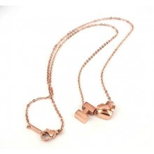 Hermes H logo with heart cham necklace,18K rose gold