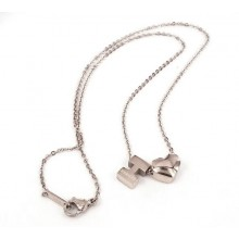 Hermes H logo with heart cham necklace,18K white gold