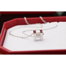 "Hermes ""H"" letter cham with O chain necklace, 18k white gold"