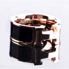Hermes LOGO Ring, Black Enamel with 14K Rose Gold
