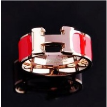 "Hermes ""H"" Ring, Red Enamel with 14K Rose Gold"
