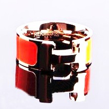 "Hermes ""H"" Ring, Orange Enamel with 14K Rose Gold"