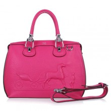 Hermes Leather Bag H1022 Rose/Silver