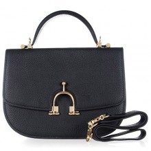 Hermes Leather Bag H39108 Black/Gold