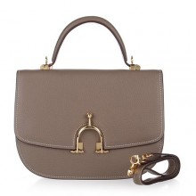 Hermes Leather Bag H39108 Deep Gray/Gold