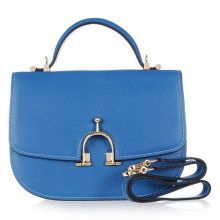 Hermes Leather Bag H39108 Lake Blue/Gold