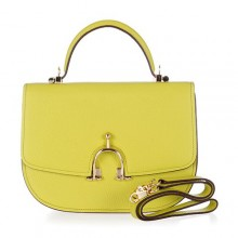 Hermes Leather Bag H39108 Lemon Yellow/Gold