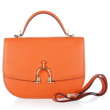 Hermes Leather Bag H39108 Orange/Gold